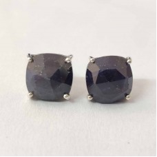 Raw Sapphire Cushion Silver Prong Stud Earring